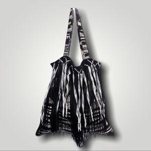 ANNA SUI Printed Fringe Tote Shoulder Bag Purse